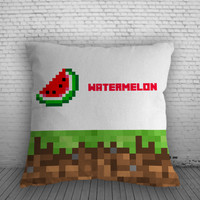 Minecraft Watermelon Pillow, Pillow Case, Pillow Cover, 16 x 16 Inch One Side, 16 x 16 Inch Two Side, 18 x 18 Inch One Side, 18 x 18 Inch Two Side, 20 x 20 Inch One Side, 20 x 20 Inch Two Side