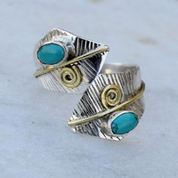 Turquoise Ring 925 Solid Sterling Silver Turquoise Stone Gemstone Ring, Leaf ring, Stone Ring, Brass wire design,Adjustable ring,