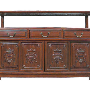 Chinese Glass Top High Credenza Console Buffet Table Cabinet cs1242E