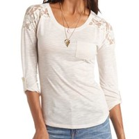 Lace Yoke High-Low Pocket Tunic Tee by Charlotte Russe