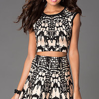 Short Two Piece Cap Sleeve Print Dress