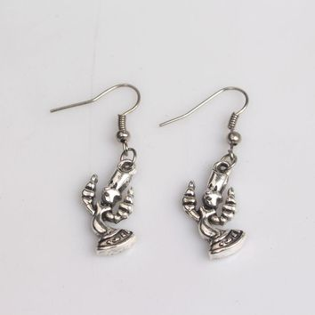 Movie Beauty And The Beast Candlestick Earrings Antique Silver Plated Candelabrum Earring Jewelry