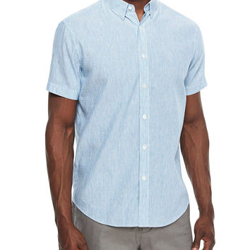 Mini-Stripe Short-Sleeve Linen-Blend Shirt, Light