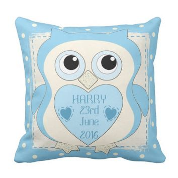 Owl Cushion blue
