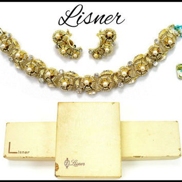 1960s LISNER Pearl & Rhinestone Bracelet Earrings, With Tags and Original Boxes! Collectors Set, Bridal Jewelry Gift For Her