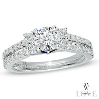 Vera Wang LOVE Collection 1-1/4 CT. T.W. Diamond Split Shank Engagement Ring in 14K White Gold - View All Rings - Zales