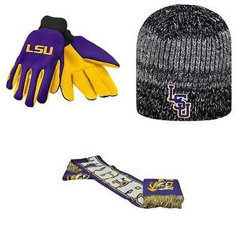 Licensed NCAA LSU Tigers Spirit Scarf Leeward Beanie Hat And Grip Work Glove 3Pk 24325 KO_19_1