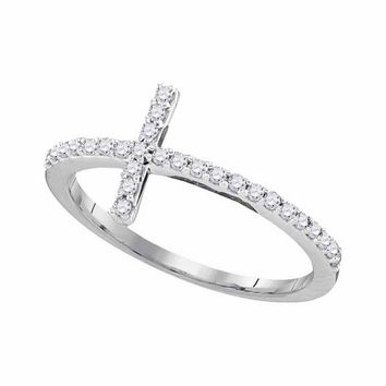 10kt White Gold Womens Round Diamond Slender Cross Faith Band Ring 1/5 Cttw - Size 8
