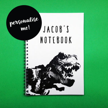 Dinosaur Notebook A5 or A4 , Personalised Handmade Sketchbook For Children, Boys and Girls, Stocking Filler, Gifts For Stationery Addicts