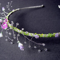 Floral Bridal Hairpiece Woodland Wedding Glass Flower Garden Headband w/ Swarovski® Crystal Beaded Diadem Boho Chic Bride Pink Purple Green