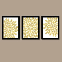 GLITTER Gold Wall Art, CANVAS or Prints Faux Glam Glitter Bathroom Pictures, Home Decor, Bedroom Decor, Flower Burst Petals Set of 3 Dorm