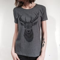 Deer Tshirt for ladies . screenprint on high quality t-shirt made with recycled materials. Gift for nature lovers. Slim fit Style.