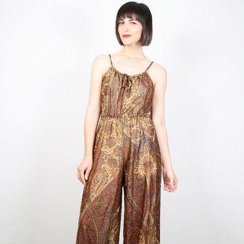 a02742f51b6 Vintage 70s Jumpsuit Gold Metallic Jumpsuit Palazzo Pants Jumpsu