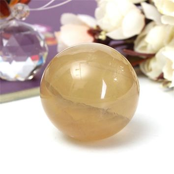 On Sale 40mm Luck Natural Citrine Quartz Crystal Sphere Ball Healing Gemstone House Decoration Home Office Craft Gift No Stand