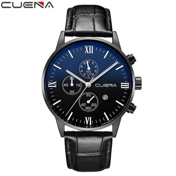 CUENA 2017 Wristwatch Mens Watches Brand Faux Leahter Men's Watch For Men Quartz-watch relogio