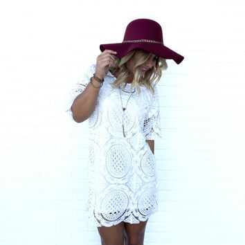 Precious Gem Shift Dress In White