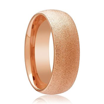 Rose Gold Tungsten Carbide Wedding Ring with Sandblasted Crystalline Finish 2mm, 4mm, 8mm