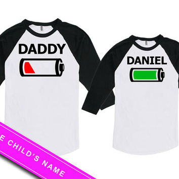 Matching Father And Baby Daddy And Daughter Shirts Father Son Gift Battery Full And Empty Bodysuit American Apparel Unisex Raglan MAT708-709