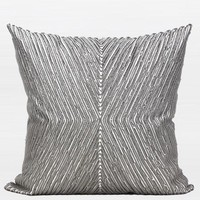 "Gray Handmade X Shape Textured Beaded Pillow 20""X20"""