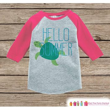 Hello Summer Turtle Onepiece or Raglan - Fun Summer Outfit For Kids - Pink Baseball Tee or Onepiece for Baby, Youth, Toddler