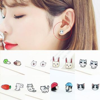 2018 New fashion earrings Allergy Free Cartoon Earring 1Pair Cute Animal earrings for women Exquesite Gifts Handmade jewelry