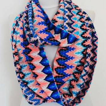 zig zag infinity scarf, scarf, scarves, long scarf, loop scarf, gift