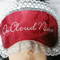 Embroidered Sleeping Mask, Eye Mask with Lace in Red