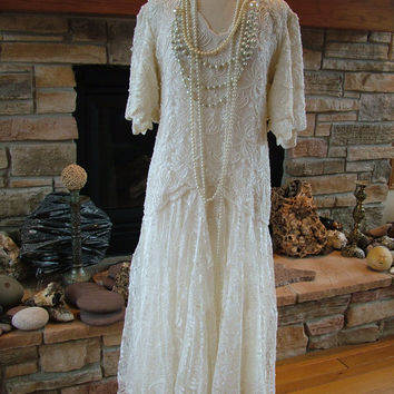 1920s Flapper Styled Beaded Wedding Dress by RetroVintageWeddings