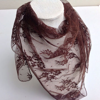 Chocolate Brown lace scarf, Ready to ship Holiday gifts, boho gift, Boss gift, Vintage look lace Scarf, Headcover mantilla