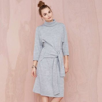 Unique Design Knit dress loose bat sleeve turtleneck dress