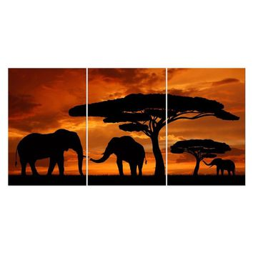 Hand painted Canvas Oil Paintings Landscape Sunset African Elephants Modern Home Decor Wall Art Tree 3 Panels Animal Picture