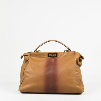 "Fendi Brown Grained Leather ""Large Peekaboo"" Satchel Bag"
