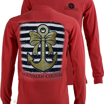 Southern Couture Gold Glitter Anchor Bow Comfort Colors Long Sleeves T-Shirt