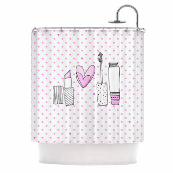 "MaJoBV ""Girls Luv"" Pink Makeup Shower Curtain"