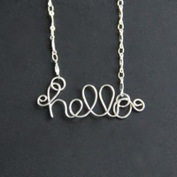Hello Necklace Wire Word Jewelry  on Luulla