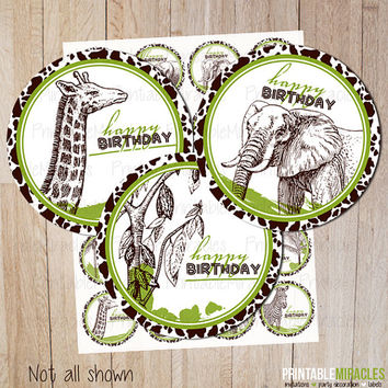 8 Safari birthday party decoration stickers African cupcake toppers printable DIY circles INSTANT DOWNLOAD green brown zebra elephant