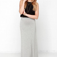 Stretch of the Imagination Heather Grey Maxi Skirt