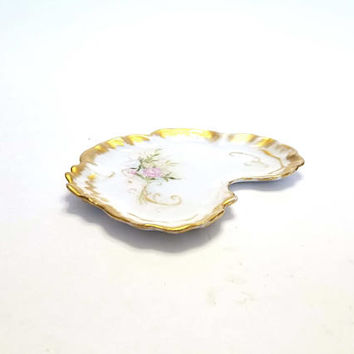 Beautiful JPL  Jean Pouyat Limoges France Early Porcelain Vanity Pin Tray Signed