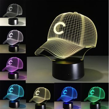 Chicago Cubs Football Hat LED Night Light Touch 7 Colors Changing Desk Lamp USB 3D Table lamps Decoration For Kid Gifts Toys