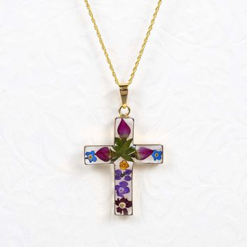 Large Gold Over Sterling Silver Dried Flower Cross Necklace