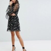 Boohoo Ruffle Trim Star Print Mesh Mini Dress at asos.com