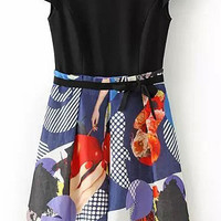 Printed Short Sleeve Dress with Bow