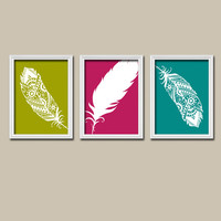 FEATHER Teal Fuschia Olive Green Outline Silhouette Modern Abstract Artwork Set of 3 Prints WALL ART Decor Bedroom Bathroom