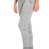 Heather Grey Banded Speckled Jogger Pants