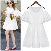 White Cut-Out Ruffle Sleeve High-Waisted Skater Dress