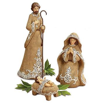 3 Piece Christmas Nativity Figurines in Burlap