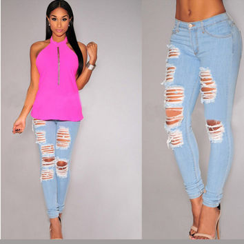 Light Blue Ripped Holes Loose Long Denim Pants