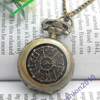 Retro copper round can run music shield pocket watch necklace pendant jewelry vintage style - small
