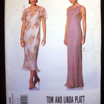 "Evening Gown Dress Misses' Size 6, 8, 10 Bust 30, 31, 32"" Vogue 2286 Sewing Pattern Uncut American Designer Tom and Linda Platt"