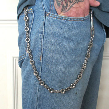 Hex nut chainmaille wallet chain, mens accessories, stainless steel, 25 inches